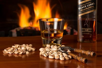 Whiskey and pecans by the fire.